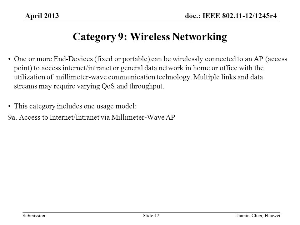 doc.: IEEE 802.11-12/1245r4 Submission April 2013 Jiamin Chen, HuaweiSlide 12 Category 9: Wireless Networking One or more End-Devices (fixed or portable) can be wirelessly connected to an AP (access point) to access internet/intranet or general data network in home or office with the utilization of millimeter-wave communication technology.