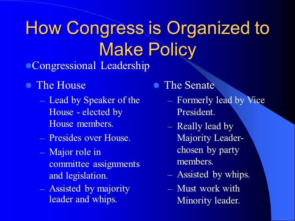 How Congress is Organized to Make Policy The House – Lead by Speaker of the House - elected by House members. – Presides over House. – Major role in c