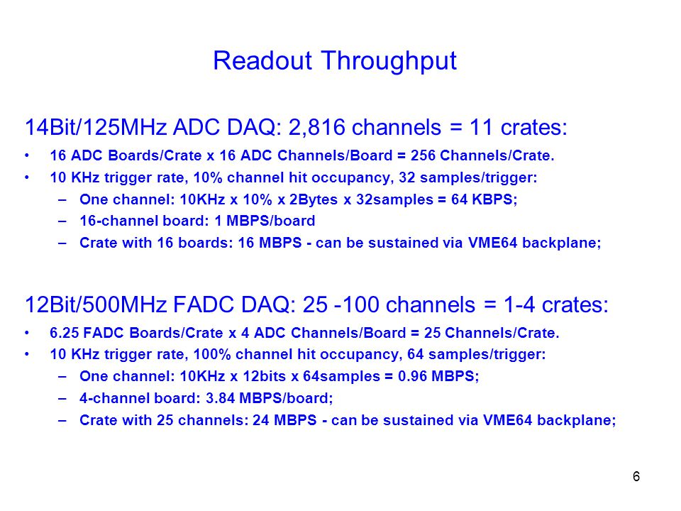 6 Readout Throughput 14Bit/125MHz ADC DAQ: 2,816 channels = 11 crates: 16 ADC Boards/Crate x 16 ADC Channels/Board = 256 Channels/Crate.