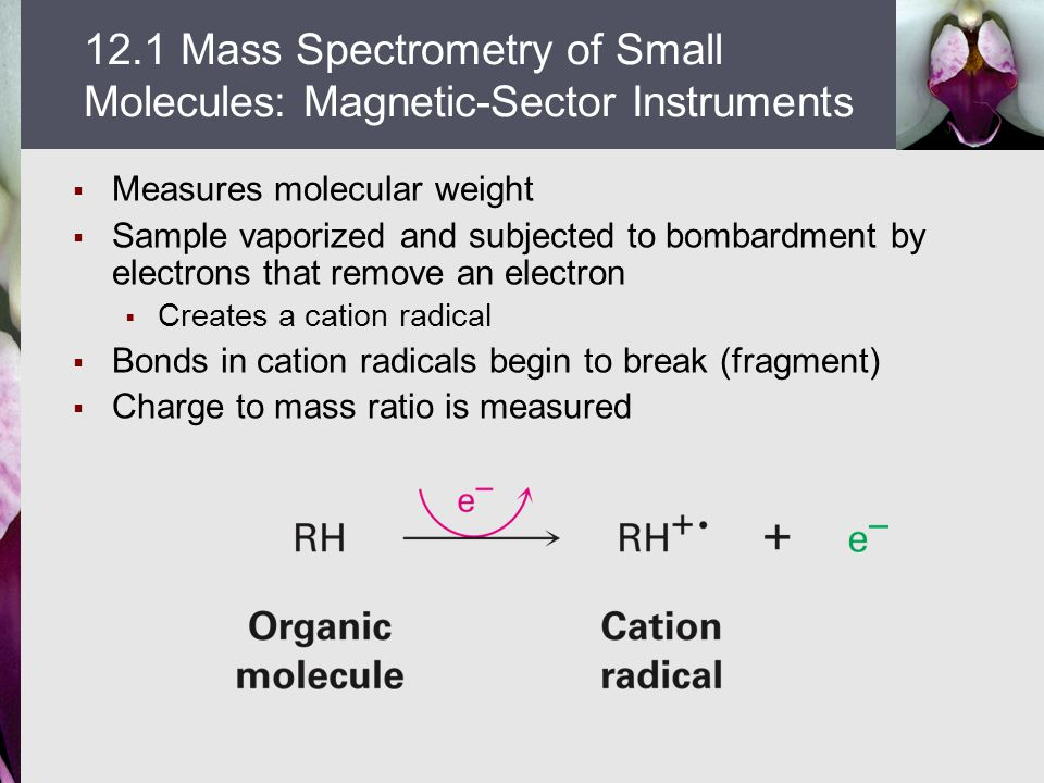  Measures molecular weight  Sample vaporized and subjected to bombardment by electrons that remove an electron  Creates a cation radical  Bonds in