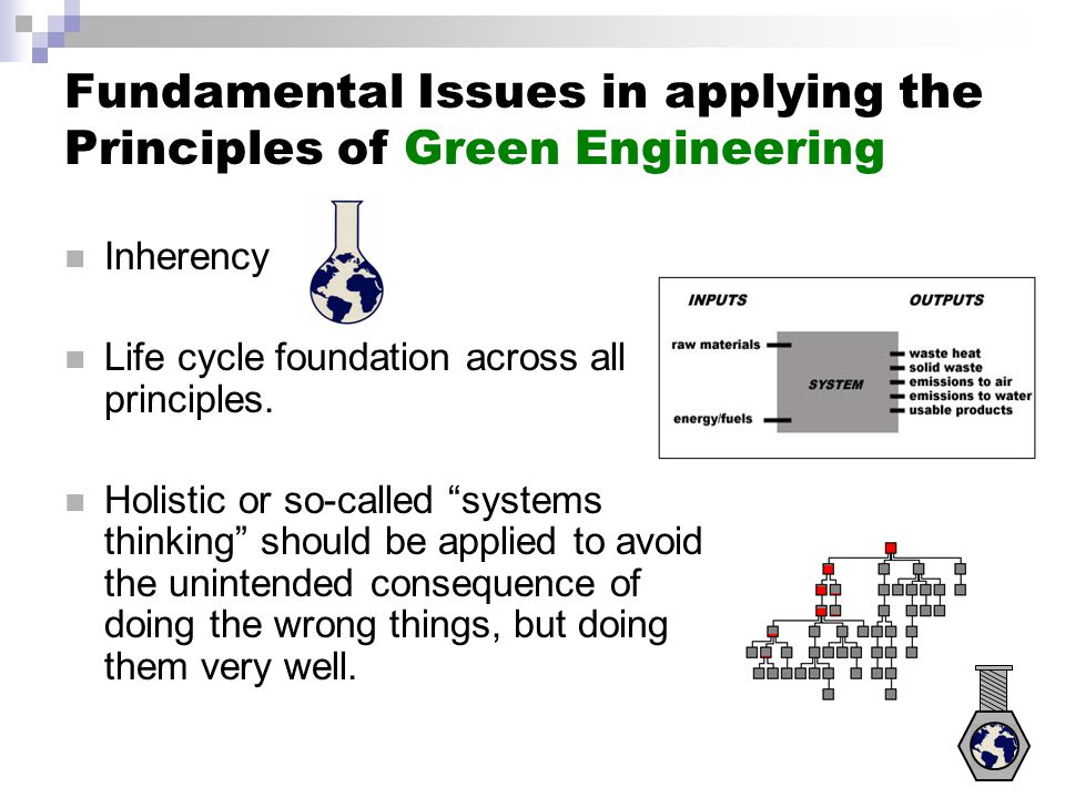 Applying the Principles of Green Engineering: Schematic of potential benefits vs. investments