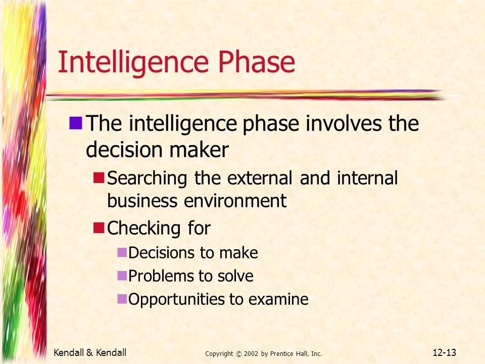 Kendall & Kendall Copyright © 2002 by Prentice Hall, Inc. 12-13 Intelligence Phase The intelligence phase involves the decision maker Searching the ex