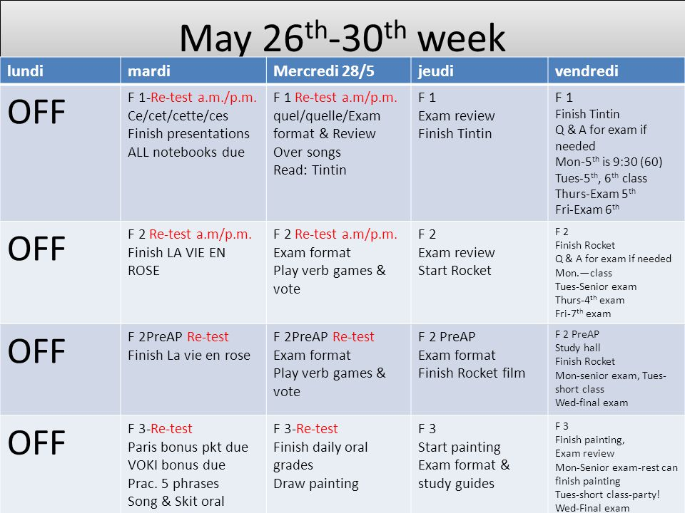 May 26 th -30 th week lundimardiMercredi 28/5jeudivendredi OFF F 1-Re-test a.m./p.m.