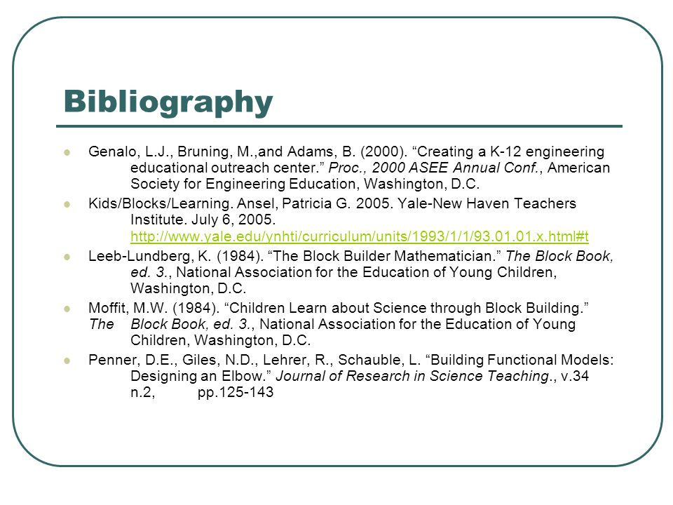 Bibliography Genalo, L.J., Bruning, M.,and Adams, B.