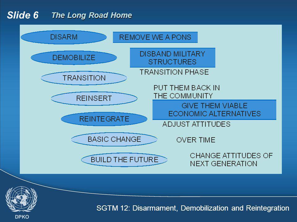 SGTM 12: Disarmament, Demobilization and Reintegration Slide 6 The Long Road Home