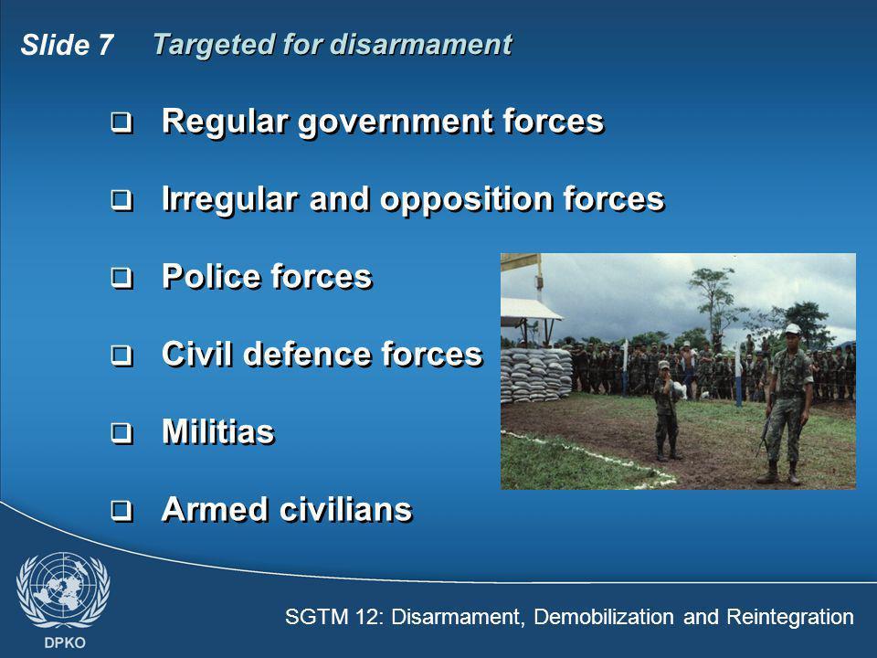 SGTM 12: Disarmament, Demobilization and Reintegration Slide 7 Targeted for disarmament  Regular government forces  Irregular and opposition forces