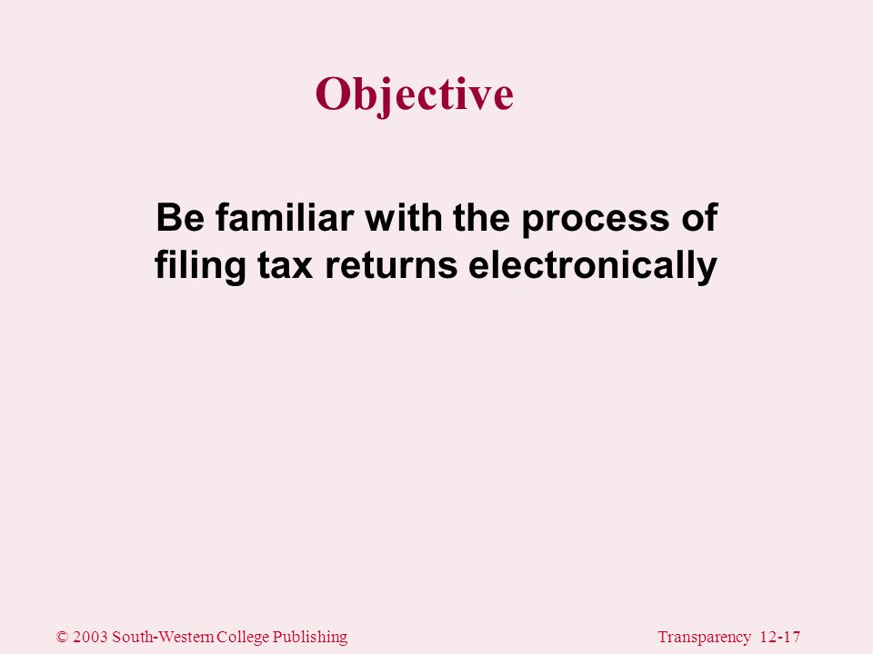 © 2003 South-Western College PublishingTransparency 12-17 Objective Be familiar with the process of filing tax returns electronically