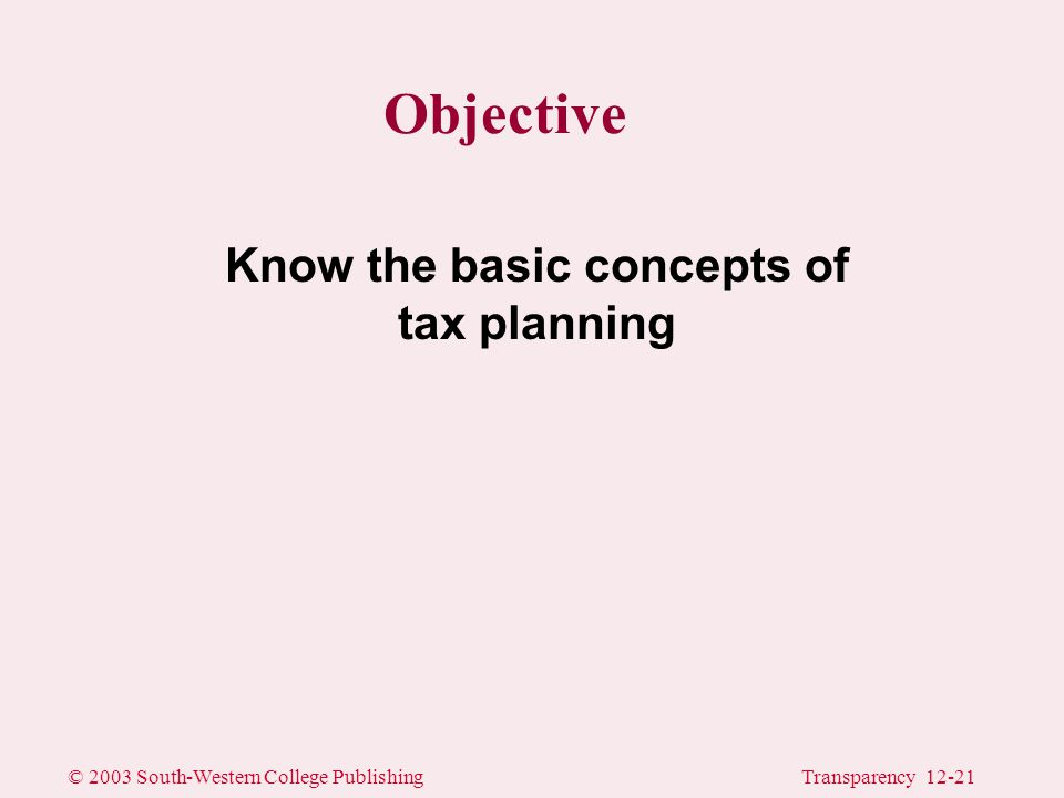 © 2003 South-Western College PublishingTransparency 12-21 Objective Know the basic concepts of tax planning