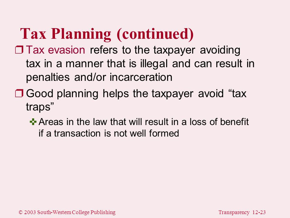 © 2003 South-Western College PublishingTransparency 12-23 Tax Planning (continued) rTax evasion refers to the taxpayer avoiding tax in a manner that is illegal and can result in penalties and/or incarceration rGood planning helps the taxpayer avoid tax traps <Areas in the law that will result in a loss of benefit if a transaction is not well formed