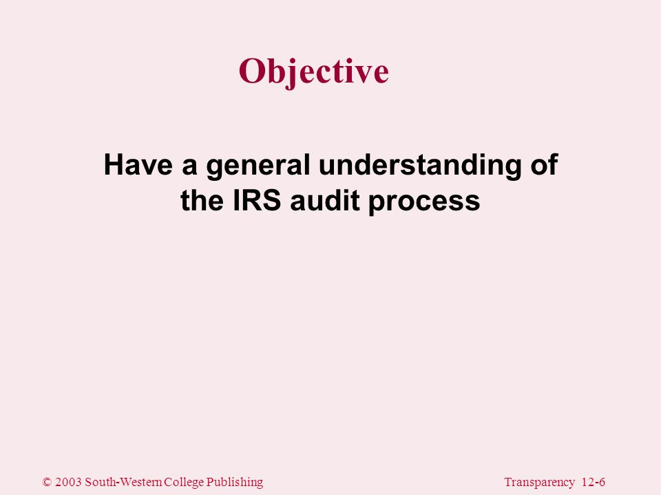 © 2003 South-Western College PublishingTransparency 12-6 Objective Have a general understanding of the IRS audit process