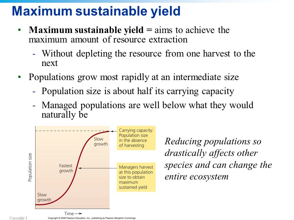 Copyright © 2008 Pearson Education, Inc., publishing as Pearson Benjamin Cummings Maximum sustainable yield Maximum sustainable yield = aims to achieve the maximum amount of resource extraction -Without depleting the resource from one harvest to the next Populations grow most rapidly at an intermediate size -Population size is about half its carrying capacity -Managed populations are well below what they would naturally be Reducing populations so drastically affects other species and can change the entire ecosystem