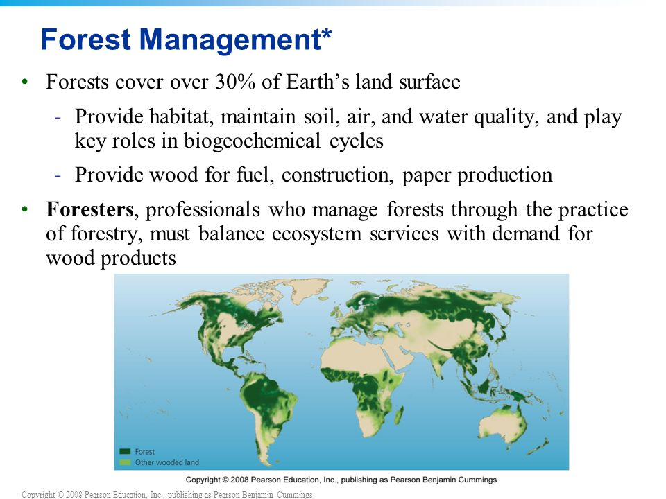 Copyright © 2008 Pearson Education, Inc., publishing as Pearson Benjamin Cummings Forest Management* Forests cover over 30% of Earth's land surface -Provide habitat, maintain soil, air, and water quality, and play key roles in biogeochemical cycles -Provide wood for fuel, construction, paper production Foresters, professionals who manage forests through the practice of forestry, must balance ecosystem services with demand for wood products