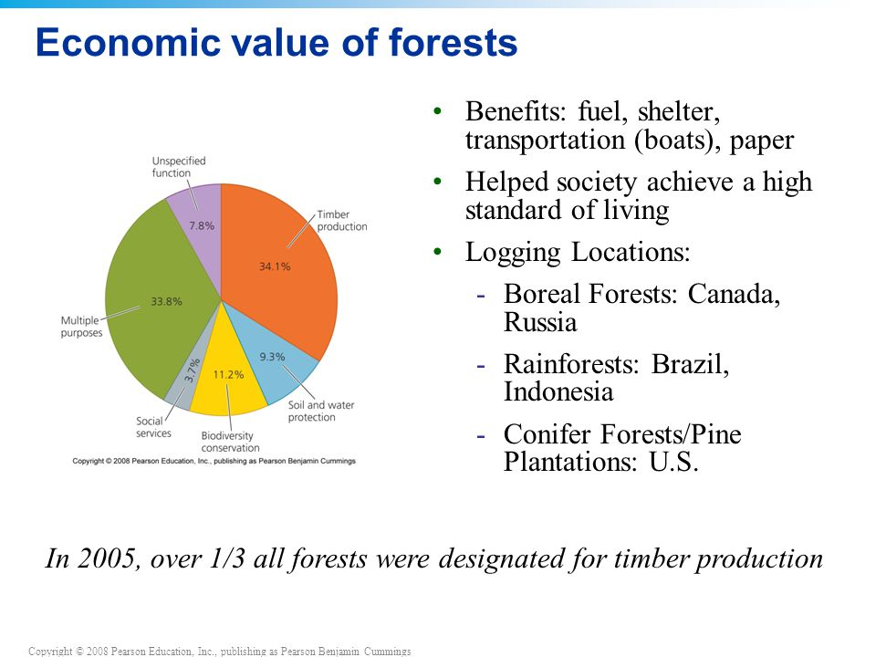 Copyright © 2008 Pearson Education, Inc., publishing as Pearson Benjamin Cummings Economic value of forests Benefits: fuel, shelter, transportation (boats), paper Helped society achieve a high standard of living Logging Locations: -Boreal Forests: Canada, Russia -Rainforests: Brazil, Indonesia -Conifer Forests/Pine Plantations: U.S.