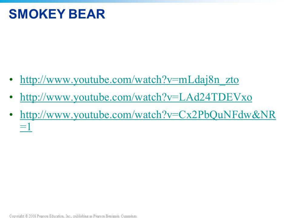 Copyright © 2008 Pearson Education, Inc., publishing as Pearson Benjamin Cummings SMOKEY BEAR http://www.youtube.com/watch v=mLdaj8n_zto http://www.youtube.com/watch v=LAd24TDEVxo http://www.youtube.com/watch v=Cx2PbQuNFdw&NR =1http://www.youtube.com/watch v=Cx2PbQuNFdw&NR =1