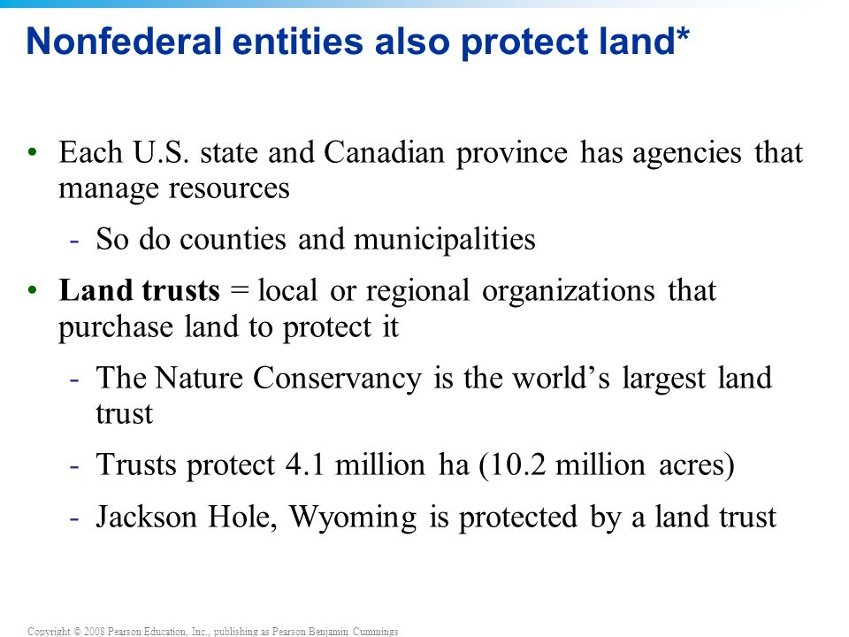 Copyright © 2008 Pearson Education, Inc., publishing as Pearson Benjamin Cummings Nonfederal entities also protect land* Each U.S.