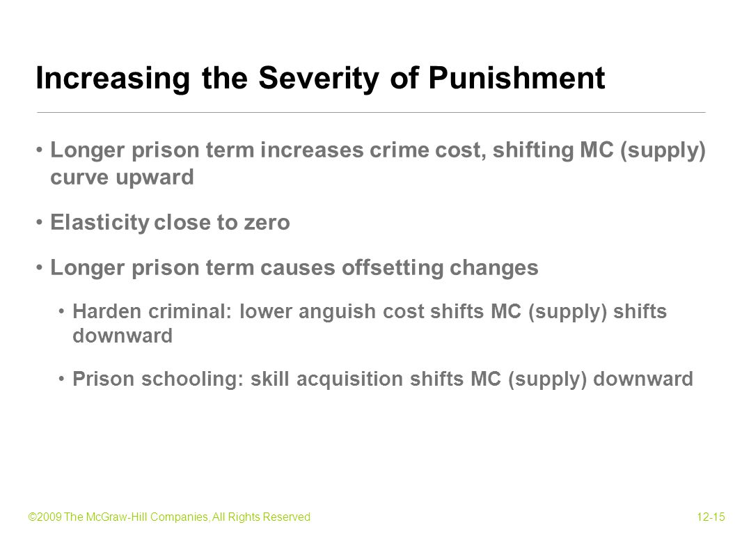 ©2009 The McGraw-Hill Companies, All Rights Reserved12-15 Longer prison term increases crime cost, shifting MC (supply) curve upward Elasticity close