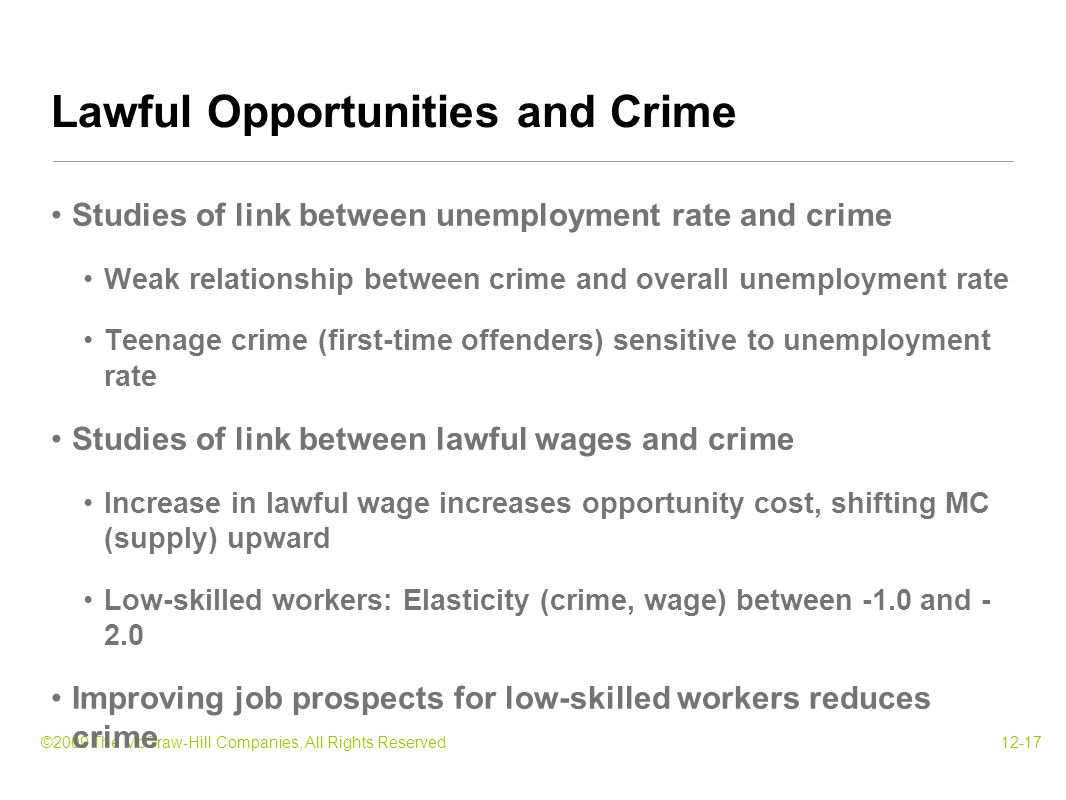©2009 The McGraw-Hill Companies, All Rights Reserved12-17 Studies of link between unemployment rate and crime Weak relationship between crime and overall unemployment rate Teenage crime (first-time offenders) sensitive to unemployment rate Studies of link between lawful wages and crime Increase in lawful wage increases opportunity cost, shifting MC (supply) upward Low-skilled workers: Elasticity (crime, wage) between -1.0 and - 2.0 Improving job prospects for low-skilled workers reduces crime Lawful Opportunities and Crime