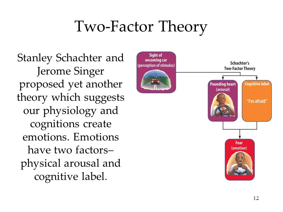12 Two-Factor Theory Stanley Schachter and Jerome Singer proposed yet another theory which suggests our physiology and cognitions create emotions. Emo