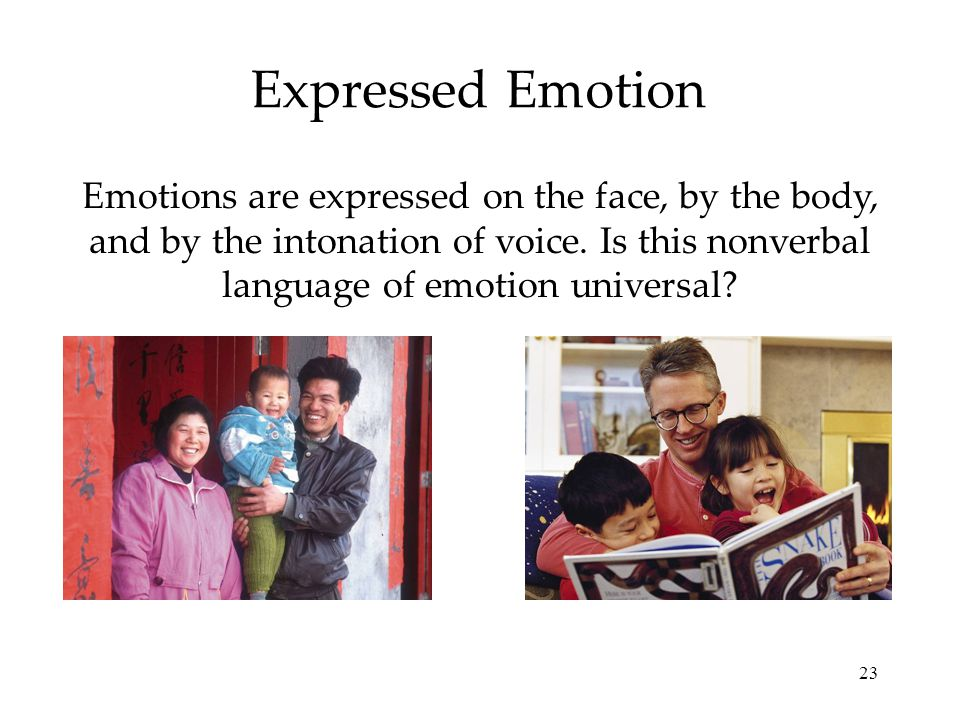 23 Expressed Emotion Emotions are expressed on the face, by the body, and by the intonation of voice. Is this nonverbal language of emotion universal?