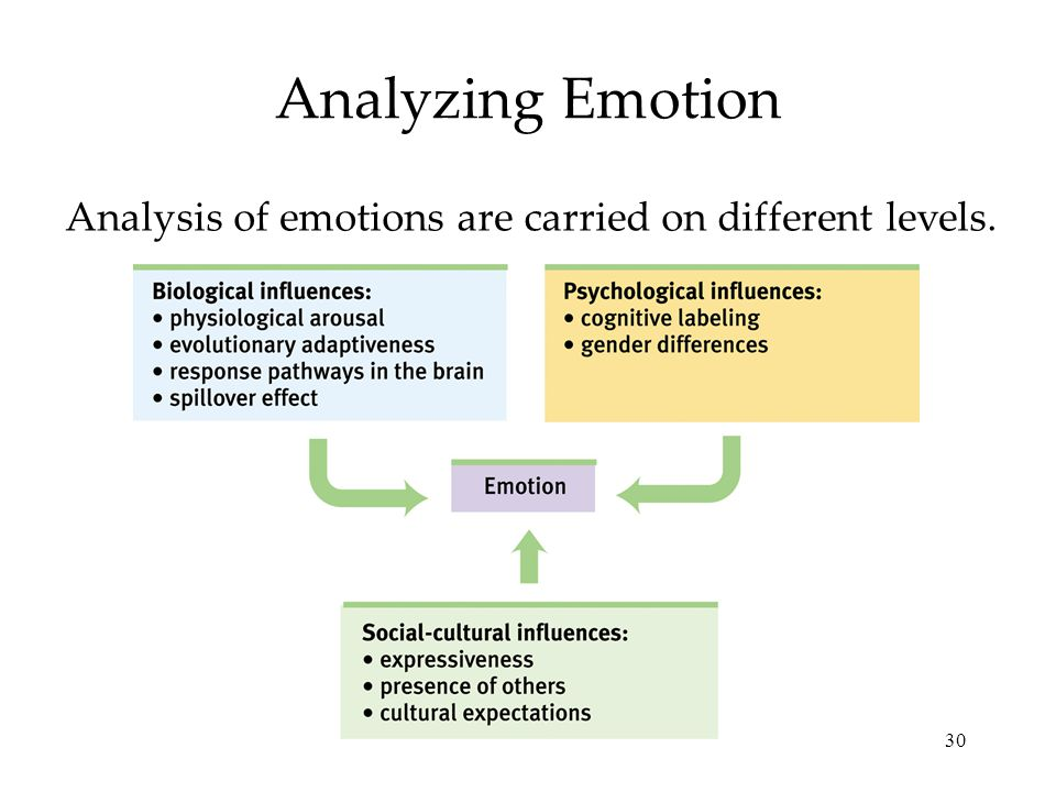 30 Analyzing Emotion Analysis of emotions are carried on different levels.