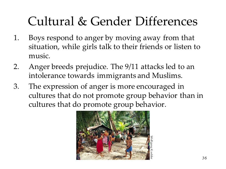 36 Cultural & Gender Differences 1.Boys respond to anger by moving away from that situation, while girls talk to their friends or listen to music. 2.A
