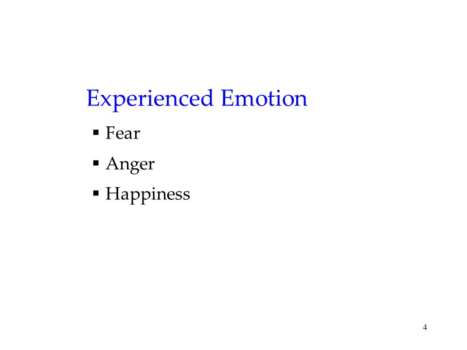 4 Experienced Emotion  Fear  Anger  Happiness
