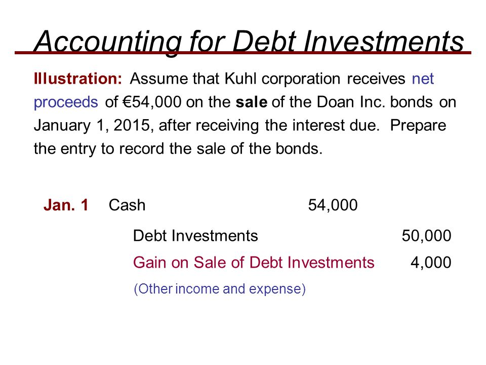 Illustration: Assume that Kuhl corporation receives net proceeds of €54,000 on the sale of the Doan Inc.