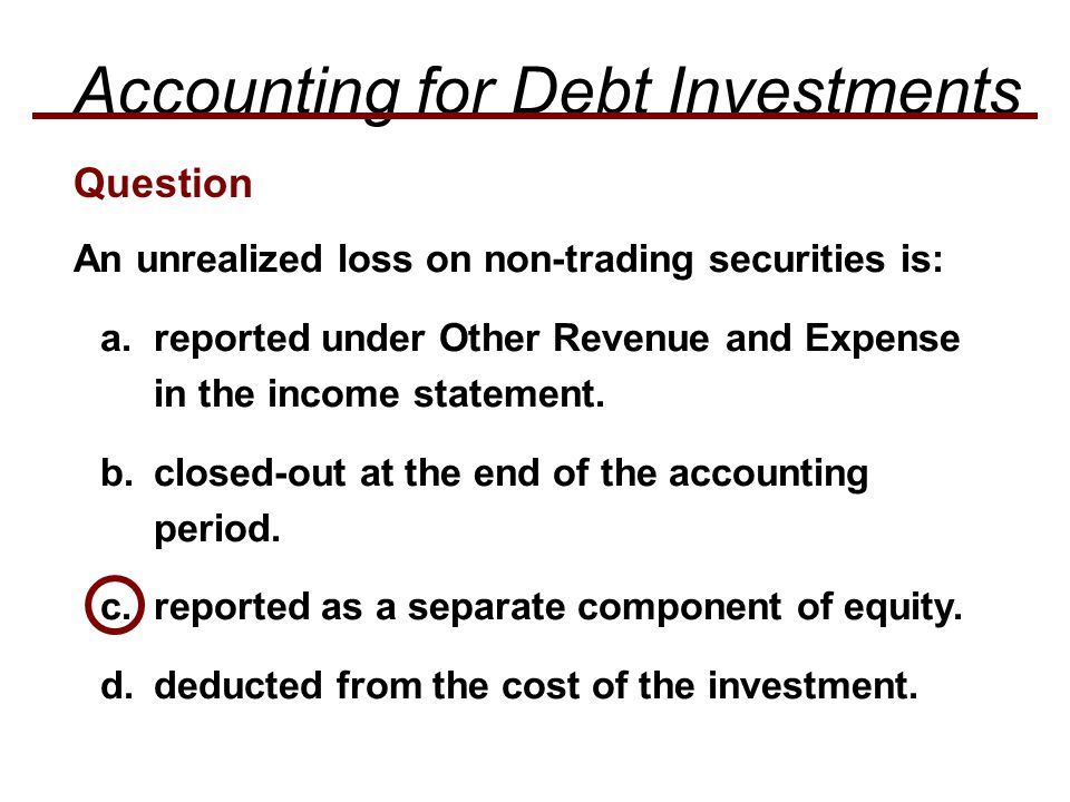An unrealized loss on non-trading securities is: a.reported under Other Revenue and Expense in the income statement.