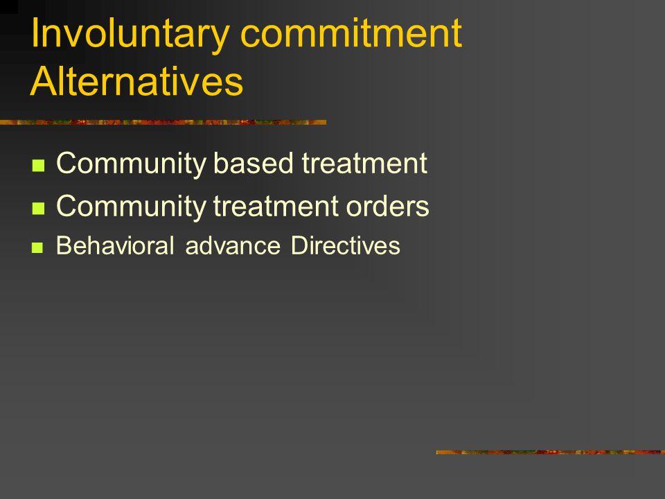 Involuntary commitment Alternatives Community based treatment Community treatment orders Behavioral advance Directives