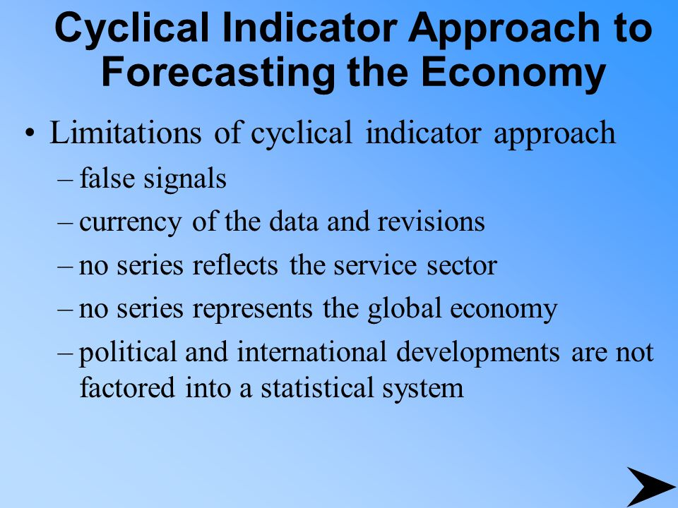 Cyclical Indicator Approach to Forecasting the Economy Limitations of cyclical indicator approach –false signals –currency of the data and revisions –