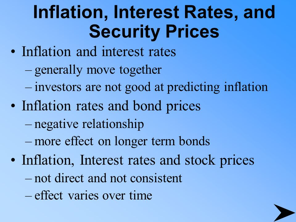 Inflation, Interest Rates, and Security Prices Inflation and interest rates –generally move together –investors are not good at predicting inflation I