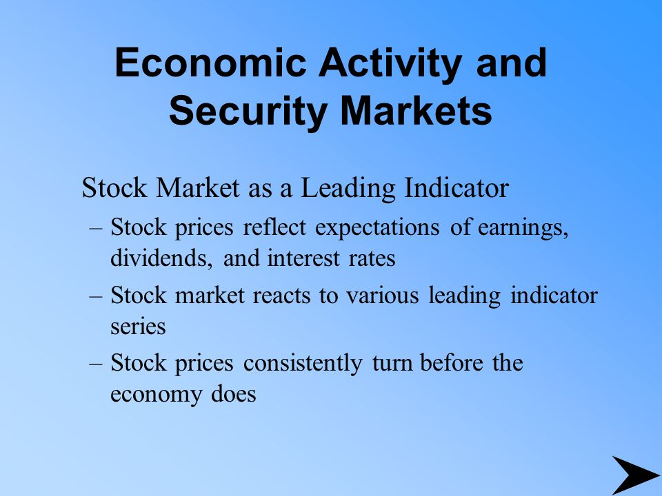 Economic Activity and Security Markets Stock Market as a Leading Indicator –Stock prices reflect expectations of earnings, dividends, and interest rat