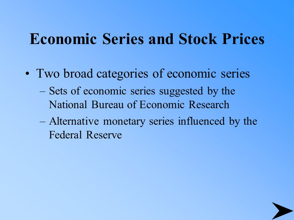 Monetary Variables, the Economy, and Stock Prices Other economic variables and stock prices –growth in industrial production –changes in the risk premium –twists in the yield curve –measures of unanticipated inflation –changes in expected inflation during periods of volatile inflation