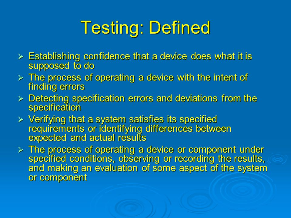 Test: Types  Verification  Validation  Black Box  White Box  Hardware Testing  Software Testing  Functional Testing  Robustness Testing  Stress Testing  Safety Testing  Regression Testing