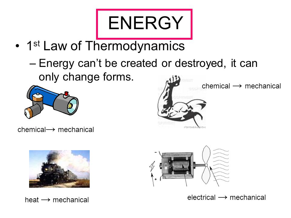 ENERGY 1 st Law of Thermodynamics –Energy can't be created or destroyed, it can only change forms.
