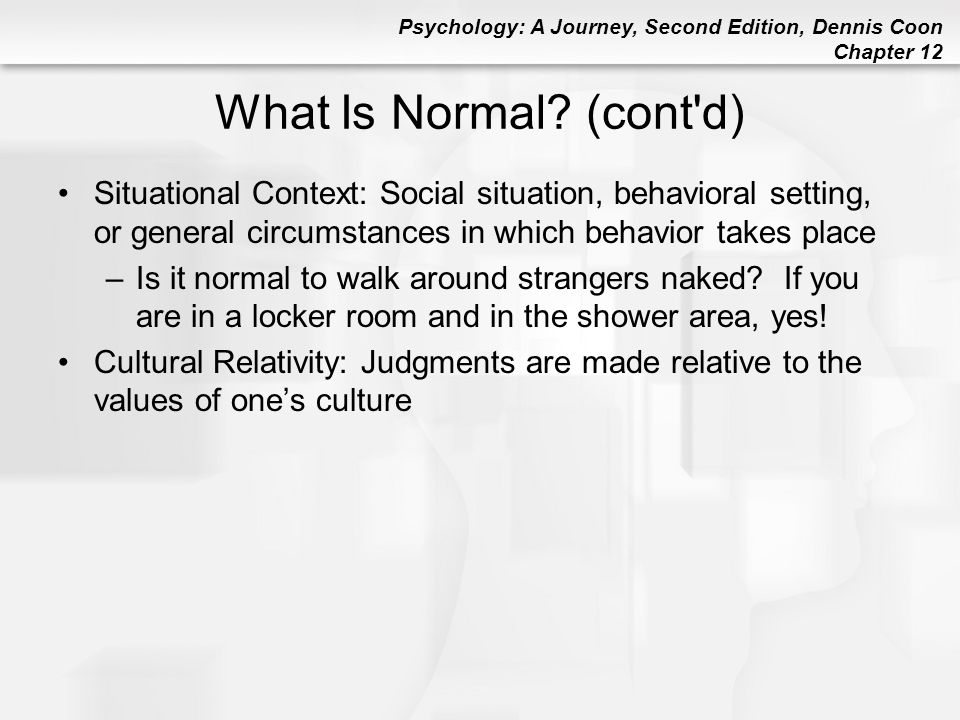 Psychology: A Journey, Second Edition, Dennis Coon Chapter 12 Major Mood Disorders (cont d) Endogenous Depression: Depression that seems to be produced from inside the body (due to chemical imbalances) and NOT from life events Seasonal Affective Disorder (SAD): Depression that only occurs during fall and winter.