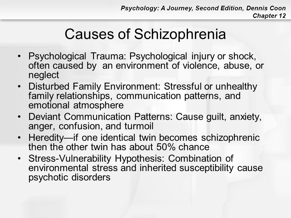 Psychology: A Journey, Second Edition, Dennis Coon Chapter 12 Causes of Schizophrenia Psychological Trauma: Psychological injury or shock, often cause
