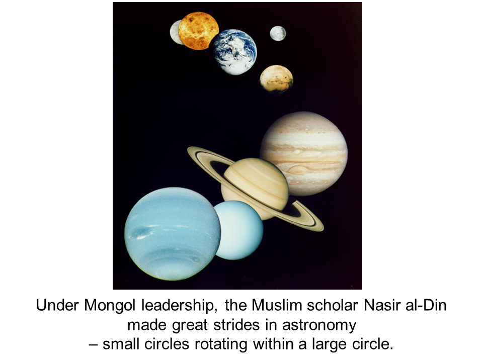 Under Mongol leadership, the Muslim scholar Nasir al-Din made great strides in astronomy – small circles rotating within a large circle.