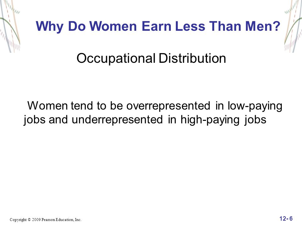 Copyright © 2009 Pearson Education, Inc. 12- 6 Why Do Women Earn Less Than Men? Occupational Distribution Women tend to be overrepresented in low-payi