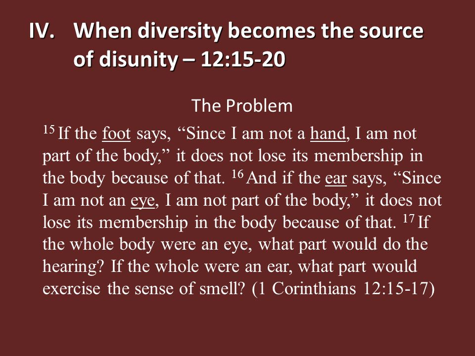 "IV.When diversity becomes the source of disunity – 12:15-20 The Problem 15 If the foot says, ""Since I am not a hand, I am not part of the body,"" it do"