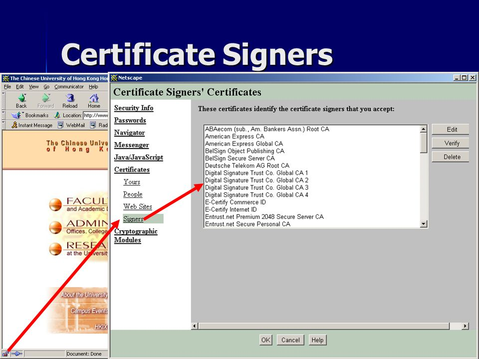 CSC1720 – Introduction to InternetAll copyrights reserved by C.C. Cheung 2003.41 Certificate Signers