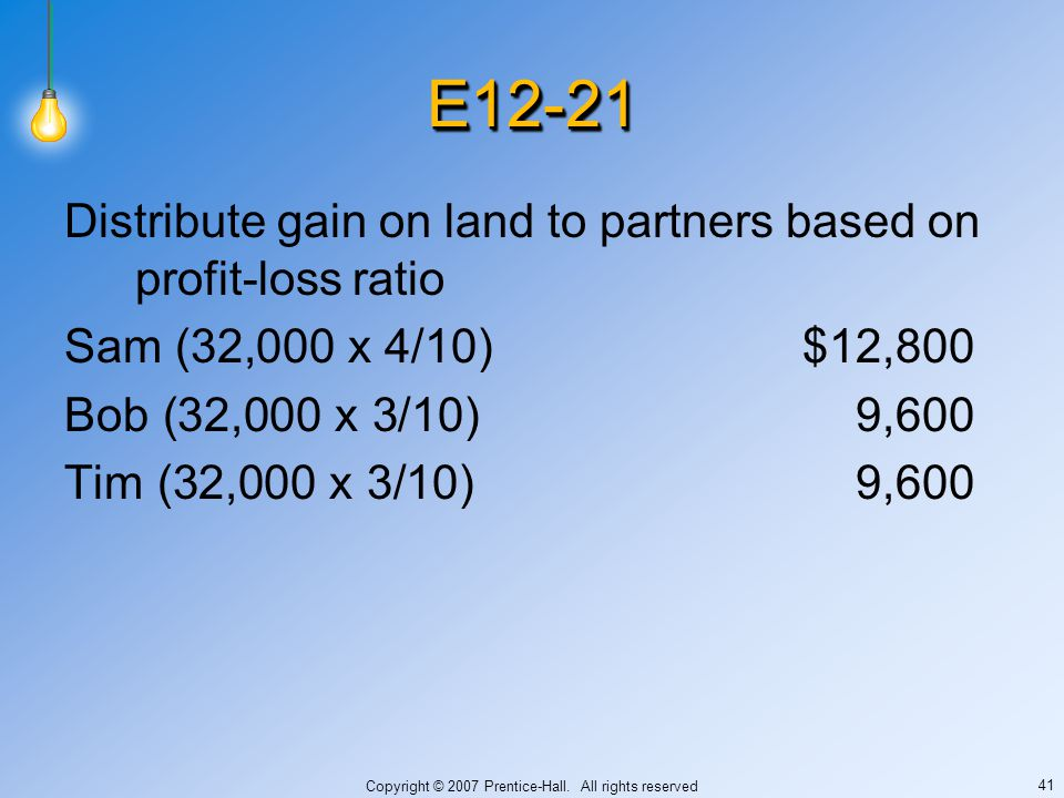 Copyright © 2007 Prentice-Hall. All rights reserved 41 E12-21E12-21 Distribute gain on land to partners based on profit-loss ratio Sam (32,000 x 4/10)