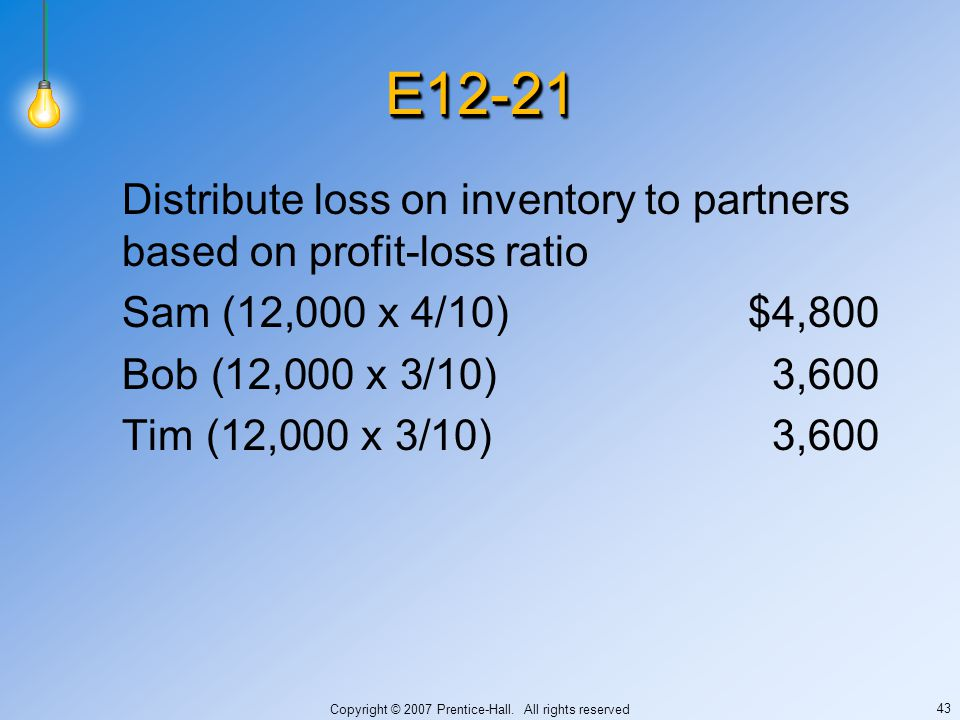 Copyright © 2007 Prentice-Hall. All rights reserved 43 E12-21E12-21 Distribute loss on inventory to partners based on profit-loss ratio Sam (12,000 x