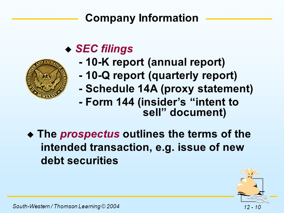 South-Western / Thomson Learning © 2004 12 - 10  SEC filings - 10-K report (annual report) - 10-Q report (quarterly report) - Schedule 14A (proxy statement) - Form 144 (insider's intent to sell document)  The prospectus outlines the terms of the intended transaction, e.g.