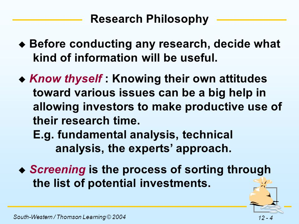 South-Western / Thomson Learning © 2004 12 - 4 Research Philosophy  Before conducting any research, decide what kind of information will be useful.