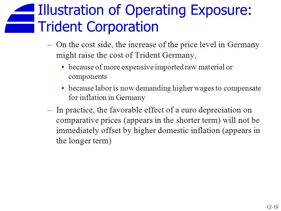Illustration of Operating Exposure: Trident Corporation –On the cost side, the increase of the price level in Germany might raise the cost of Trident