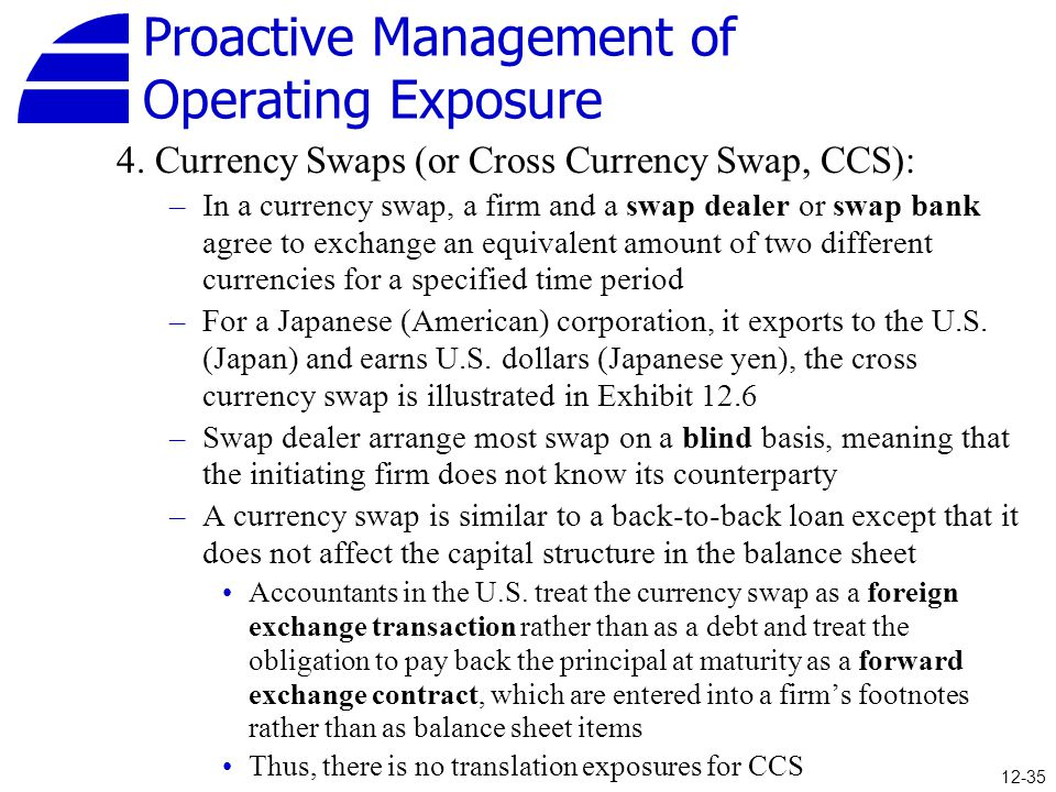 Proactive Management of Operating Exposure 4. Currency Swaps (or Cross Currency Swap, CCS): –In a currency swap, a firm and a swap dealer or swap bank
