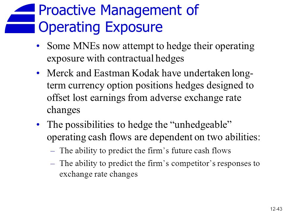 Proactive Management of Operating Exposure Some MNEs now attempt to hedge their operating exposure with contractual hedges Merck and Eastman Kodak hav
