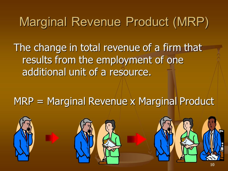 10 Marginal Revenue Product (MRP) The change in total revenue of a firm that results from the employment of one additional unit of a resource. MRP = M