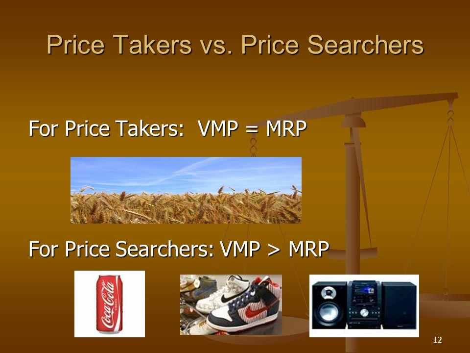 12 Price Takers vs. Price Searchers For Price Takers: VMP = MRP For Price Searchers: VMP > MRP